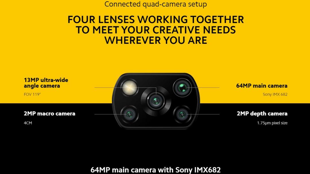 Xiaomi Poco X3 6GB 128GB 64 MP kamera (Sony IMX682)